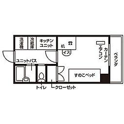 仙台市営南北線 泉中央駅 徒歩7分の賃貸マンション 3階ワンルームの間取り