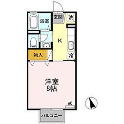 水島臨海鉄道 弥生駅 3.5kmの賃貸アパート 2階1Kの間取り