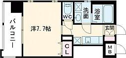 アースコートY'sシティ片野新町 13階1Kの間取り