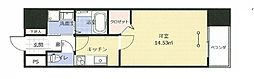 アークデュオ福島万世町 10階1Kの間取り