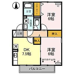 セジュールII  C棟 2階2DKの間取り