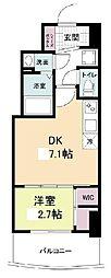 セレニテ桜川駅前プリエ 14階1DKの間取り