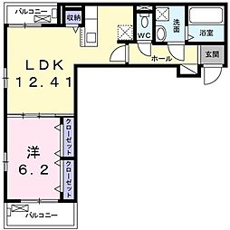 Grisaille 3階1LDKの間取り