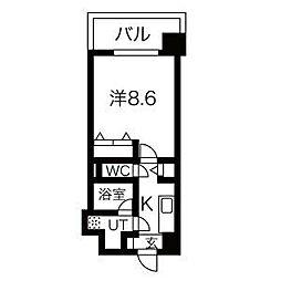 阪急神戸本線 王子公園駅 徒歩9分の賃貸マンション 2階1Kの間取り