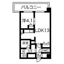 阪急神戸本線 王子公園駅 徒歩9分の賃貸マンション 8階1LDKの間取り