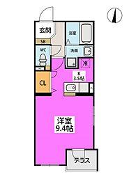 福岡市地下鉄空港線 藤崎駅 徒歩7分の賃貸マンション 1階1Kの間取り