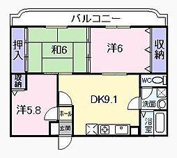 JR桜井線 桜井駅 徒歩8分の賃貸マンション 3階3LDKの間取り