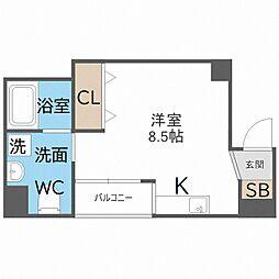 南海線 粉浜駅 徒歩5分の賃貸マンション 4階ワンルームの間取り