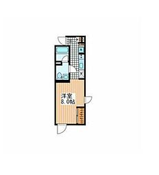 JR山手線 目黒駅 徒歩15分の賃貸マンション 2階ワンルームの間取り