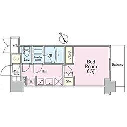 JR山手線 駒込駅 徒歩2分の賃貸マンション 3階1Kの間取り