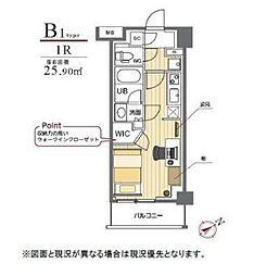 JR山手線 駒込駅 徒歩2分の賃貸マンション 3階ワンルームの間取り