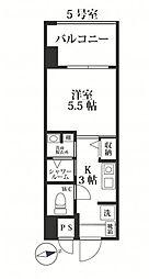 福岡市地下鉄七隈線 別府駅 徒歩16分の賃貸マンション 5階1Kの間取り