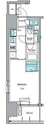 東京メトロ日比谷線 入谷駅 徒歩3分の賃貸マンション 7階1Kの間取り