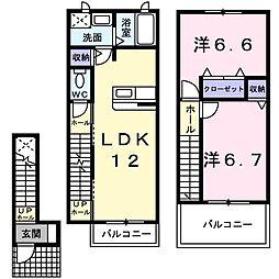仙台市地下鉄東西線 薬師堂駅 バス17分 東北電力南営業所前下車 徒歩3分の賃貸アパート 2階2LDKの間取り
