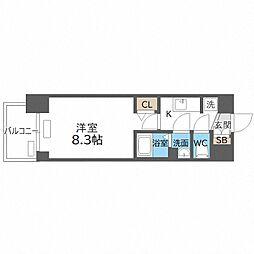 近鉄南大阪線 北田辺駅 徒歩7分の賃貸マンション 8階1Kの間取り