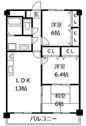 ブラッサムコート新宮 3階3LDKの間取り