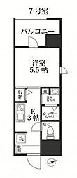 福岡市地下鉄七隈線 別府駅 徒歩16分の賃貸マンション 6階1Kの間取り