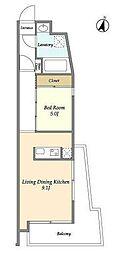 東急田園都市線 駒沢大学駅 徒歩5分の賃貸マンション 地下1階1LDKの間取り