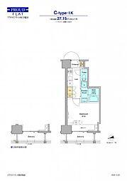 JR山手線 高田馬場駅 徒歩12分の賃貸マンション 8階1Kの間取り