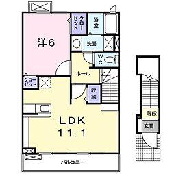 アドラブール 2階1LDKの間取り
