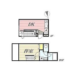 PASEO新宿3丁目II 1階1DKの間取り