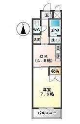 M's 4階1DKの間取り