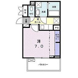 サンガーデン 武庫川 3階1Kの間取り