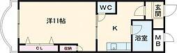 グランビュー太平 3階1Kの間取り