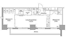JR山手線 巣鴨駅 徒歩8分の賃貸マンション 8階2LDKの間取り