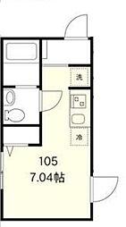 東京メトロ丸ノ内線 中野坂上駅 徒歩12分の賃貸アパート 1階ワンルームの間取り