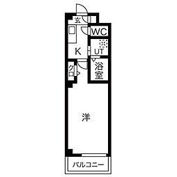 名鉄犬山線 徳重・名古屋芸大駅 徒歩25分の賃貸マンション 2階1Kの間取り