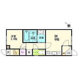 JR常磐線 長町駅 徒歩7分の賃貸アパート 1階1DKの間取り