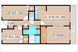 グランドール泉中央II 2階3LDKの間取り