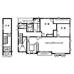西武新宿線 下落合駅 徒歩5分の賃貸アパート 2階3LDKの間取り