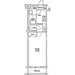 JR山手線 恵比寿駅 徒歩7分の賃貸マンション 2階1Kの間取り