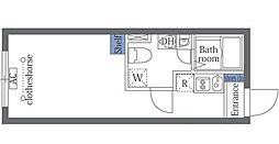 JR山手線 恵比寿駅 徒歩15分の賃貸マンション 2階ワンルームの間取り