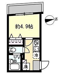 JR山手線 恵比寿駅 徒歩13分の賃貸マンション 2階1Kの間取り