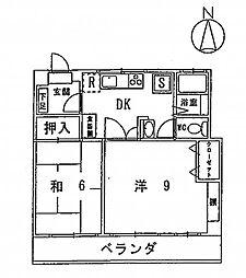 タケダビル 4階2DKの間取り