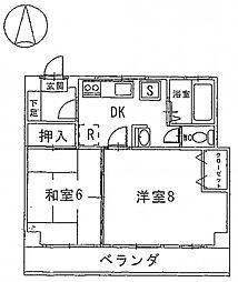 タケダビル 5階2DKの間取り