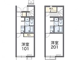 JR津山線 法界院駅 徒歩15分の賃貸アパート 2階1Kの間取り
