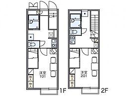 JR常磐線 水戸駅 バス14分 羅漢橋下車 徒歩2分の賃貸アパート 2階1Kの間取り