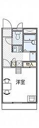 神鉄有馬線 北鈴蘭台駅 徒歩16分の賃貸アパート 1階1Kの間取り