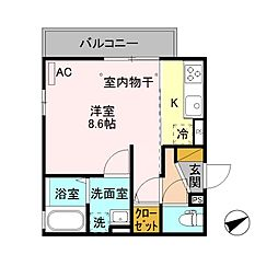 JR上越線 長岡駅 徒歩14分の賃貸アパート 2階1Kの間取り