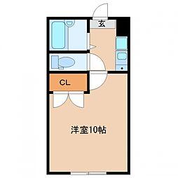 多賀城イーストA 2階1Kの間取り