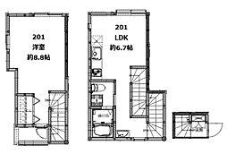 コンフォルトX(コンフォルトテン) 2階1LDKの間取り