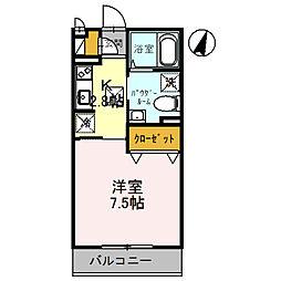 JR福知山線 川西池田駅 徒歩6分の賃貸アパート 1階1Kの間取り