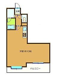 成田コリンズ 5階ワンルームの間取り