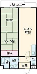 樋本マンション 2階2LDKの間取り