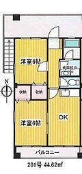 JR中央線 三鷹駅 徒歩28分の賃貸マンション 2階2DKの間取り