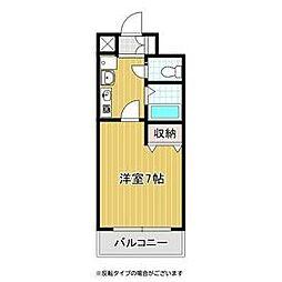 バッハレジデンス神戸ウエスト B棟 4階1Kの間取り